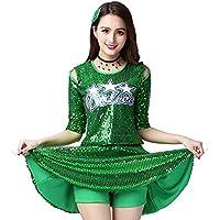 4bb5aab3ce35 Tenthree Modern Dance Costume Uniforms Women - Ladies Sequins Top Skirt Set  High School Clothing Cheerleading