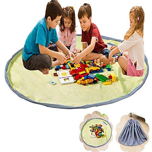 xhforever Kinder Aufräumsack Spieldecke Spielzeug Speicher Tasche Aufbewahrung Beutel Spielzeugaufbewahrung 150cm Gelb