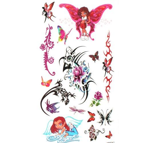 king-horse-tattoo-graziosi-angelo-farfalle-e-fiori-impermeabile-e-sudore-tatuaggi-temporanei