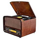 AGGL Schallplattenspieler CD-Spieler USB-Radio des Grammophons antiker Phonograph LP-Vinylrekordspieler Jahrgang