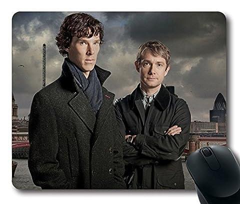 Custom TV Tapis de souris avec Sherlock Sherlock Holmes Dr John Watson Martin Freeman Benedict Cumberbatch Taille standard en caoutchouc néoprène antidérapante 22,9cm (220mm) x 17,8cm (180mm) x 1/20,3cm (3mm) de bureau Tapis de souris pour ordinateur portable souris confortable Ordinateur Tapis de souris