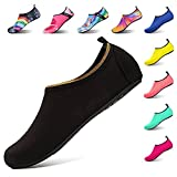 IceUnicorn Water Shoes Mens Womens Outdoor Swim Barefoot Socks Skin Shoes For Beach Running Snorkeling Surfing Diving Yoga Exercise(Gold Edge Black,40/41EU)