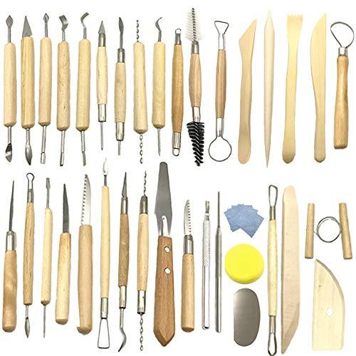 Aisamco 40 Stücke Keramik Ton Werkzeuge Kit Keramik Sculpting Tools Set für Anfänger Professionelle Kunsthandwerk, Holz und Stahl, Schulen und Home Safe für Kinder (Keramik-keramik-kit)