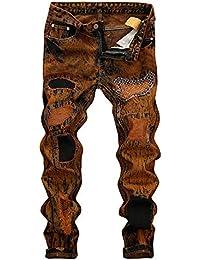 5917c17d322c98 Geili Herren Jeans Hose Lang Jeanshosen Vintage Destroyed Hohl Löchern Denim  Hose Basic Hip Hop Hose