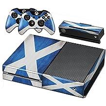 Xbox One Protective Vinly Skin Sticker Consola Decal Pegatinas + 2 Controlador & Kinect Skins Set (Azul Relámpago)