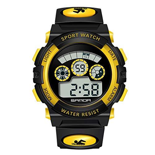 HHyyq Kinderuhren für Jungen Mädchen, Wasserdicht Outdoor Sports Digitaluhren Analog Armbanduhr mit Wecker Timer Licht Elektronische Stoßfest Handgelenk Uhr für Jugendliche Kinderuhren(Gelb) -