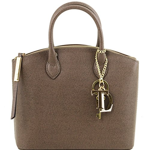 Tuscany Leather TL KeyLuck - Borsa shopper in pelle Saffiano - Misura piccola Nero Borse donna a mano in pelle Talpa scuro