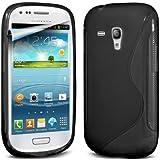 (Schwarz) Samsung i8190 S3 Mini Schutzhülle S-Line Wave Gel Case Cover Skin & LCD Screen Protector Guard von Spyrox