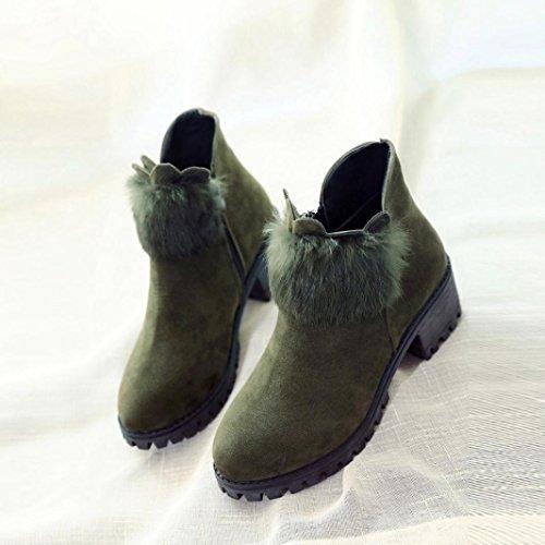 Dragon868 Donna Stivali Martin Con Tacco Alto Spessore Con Stivali Invernali Zip Stivali verde dell'esercito