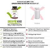 Premium OPC Traubenkernextrakt – 600 mg Traubenkernextrakt = 240 mg reines OPC – nur eine Kapsel pro Tagesdosis – vegan – 3 Monate Vorrat vom deutschen Hersteller Green Mind Nutrition - 3