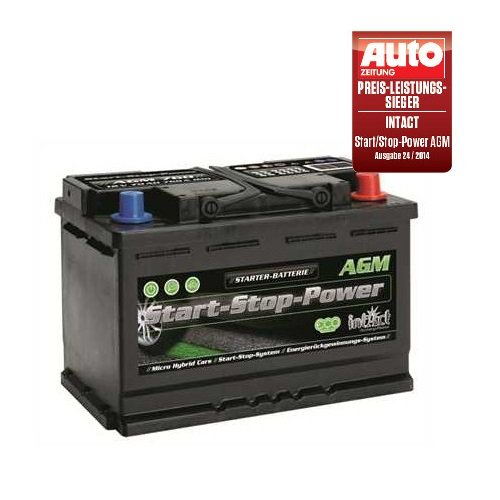 Intact AGM 760 Start Stop Autobatterie 12V 70 Ah 760 A Preis-Leistung-SIEGER GTÜ 2014