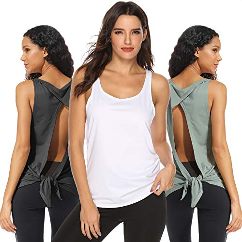FITTOO Damen Fitness-Trainings Shirt Tank Tops Casual Kurzarm Rückenfrei Shirts für Yoga Workout -