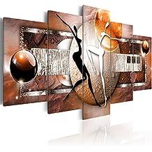 Cuadro en Lienzo 200x100 cm - 3 tres colores a elegir - 5 Partes - Formato Grande - Impresion en calidad fotografica - Cuadro en lienzo tejido-no tejido - abstraccion 020101-221 200x100 cm B&D XXL