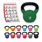 POWRX Kettlebell Neopren 2-26 kg inkl. Workout I Kugelhantel in versch. Farben und Gewichten I...