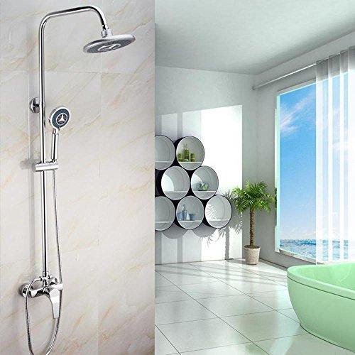 ZHGI Moderno cilindrico di rame set doccia rotonda, doccia, doccia pole di sollevamento, tre minuti di doccia, multi-funzione spray a mano