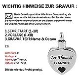 HooAMI Memorial Schmuck, Katze Herz Gedenk Asche Andenken Anhaenger Silber Schwarze mit Gravur (mit Gravur) - 2