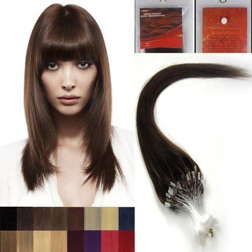 45.7cm Lisse Boucles Micro Anneau Perles Pointu Cheveux Humains Extensions 100 s 04 Marron Moyen Femmes beauté Hairsalon Style Motif 0,5g/s
