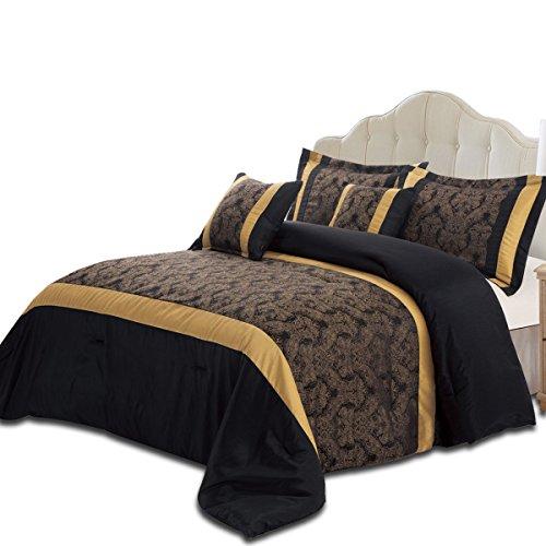 Bettdecke aus Kunstseide, mit zwei Kissenbezügen, 3-teiliges Set, Microfaser, schwarz / gold, Double 220x240