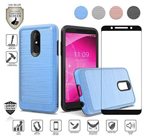 Schutzhülle für T-Mobile Alcatel Revvl 2 (14 cm / 5,5 Zoll), Alcatel 3 mit Displayschutz aus gehärtetem Glas, stoßfest, Carbon gebürstet, blau T-mobile Carbon