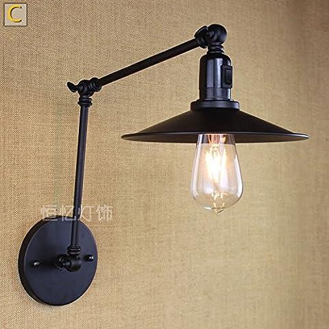 La LED peut avec interrupteur Applique murale extensible Robot Long Bras mural Leuchten C Noir (35+ 35) Applique murale LED original les Applique murale, le lit, lampe pour le salon, restaurant, bar, hôtel, pliés [énergétique: A +].