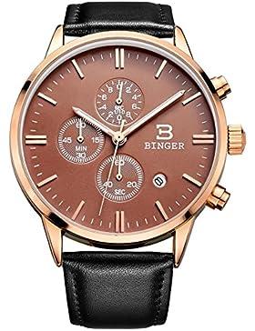 Binger Herren-Armbanduhr Chronograph Analog Quarz Uhr Lederarmband Wasserdicht Uhr