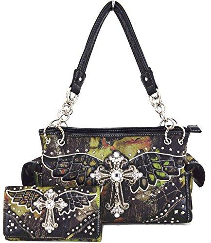 Blancho Bettwäsche Womens [Wing Cross] PU-lederner Beutel-Satz elegante Mappe Hanbag Comobo Art- und Weisebeutel-Schwarzes - Womens Designer-bettwäsche