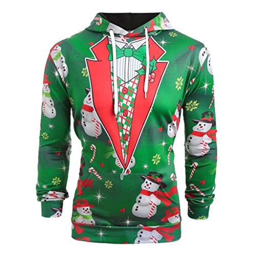 MIRRAY Herren Weihnachten Kapuzenpullover Weihnachtsanzugmuster 3D Elch Print Langarm Tunnelzug Hoodie Caps Sweatshirt Pullover