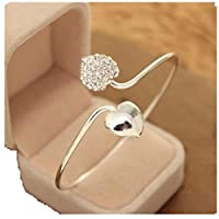 FANMURAN Yolandabecool Women Crystal Bangle Cuff Bracelet Wedding Proposal Jewelry T Style