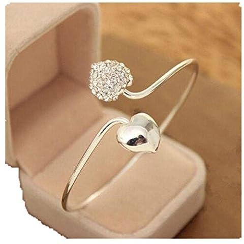 FANMURAN Women Crystal Double Heart Bangle Cuff Bracelet Wedding Proposal Jewelry