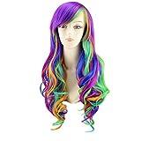 Cosplay My Little Pony Perücken, woopower Damen Rainbow Langes Haar wig-big, welliges Haar Hitzebeständig Multi Color Perücke für Cosplay/Party Kostüm