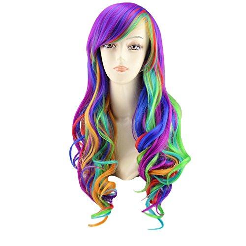 Cosplay My Little Pony Perücken, woopower Damen Rainbow Langes Haar wig-big, welliges Haar Hitzebeständig Multi Color Perücke für Cosplay/Party Kostüm (Halloween My Little Pony Kostüm)