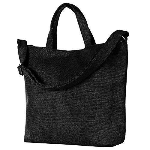 DonDon Borsa in canvas nera shopper con manico e bretelle zaino vintage 46 x 32 x 13 cm