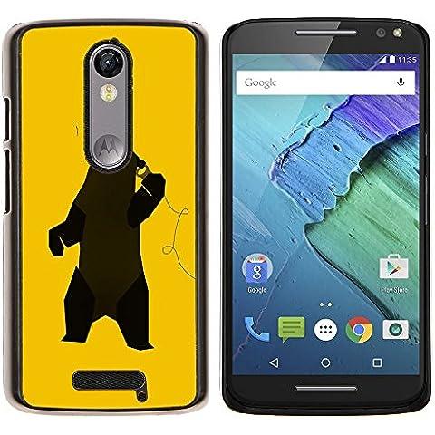 Copertura di plastica Shell Custodia protettiva || Motorola Moto X ( 3rd Generation ) || Divertente Musica Dancing Bear @XPTECH