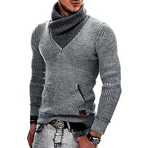 Indicode Caballeros Dane Suéter De Invierno Punto Grueso con Cuello Chal | Caliente Pullover Moderno Jersey Marca Hoddie Más Cómodo para Hombres