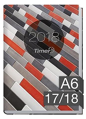 Chäff-Timer mini A6 Kalender 2017/2018 [Muster grau-rot] 18 Monate Juli 2017-Dezember 2018 - Terminkalender mit Wochenplaner - Organizer - Wochenkalender