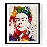 Folie für Rahmen FRIDA KAHLO Stil Aquarell. Poster XXL Poster mit Bild von Frida Kahlo Stil Aquarellpapier Explosion von Farbe). Von der mythischen Malerin in Größe 50x 70cm gedruckt auf Rolle 135Gramm hohe Qualität Robust und Tinten.