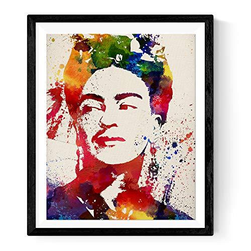 Nacnic Lámina para enmarcar Frida Kahlo Estilo Acuarela. Poster con imágen de Frida Kahlo Estilo Acuarela. Lámina de la mítica pintora Frida Kahlo. Decoración de hogar. Láminas para enmarcar.