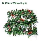 Biback Corona di Natale,Ghirlanda Natalizia Filiali Albero di Natale Decorazione Casa Festival Decorazione Vite verde malacca Con le luci