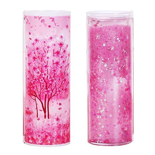 Harpily carina astuccio cilindrico con sabbie mobili astuccio grande astuccio multifunzionale scatola di cancelleria (rosa)