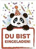 16 Einladungskarten zum Kindergeburtstag - Motiv Panda Bär - für Kinder, Jungen, Mädchen,Feier Geburtstagseinladungen im Set