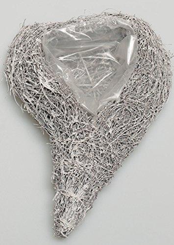 erz Weiß Grau Swing 28cm x 19cm x 7cm Geschwungenes Herz Zum Bepflanzen Rattanherz Herzschale Herzkorb Dekoherz Hochzeit Gastgeschenk Tischdeko ()