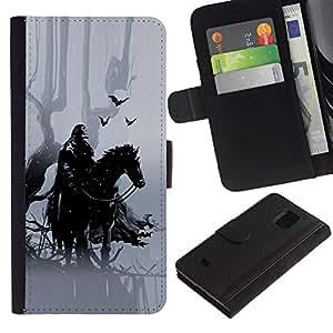 iKiki Tech / Leder Tasche Case Hülle - Forrest Warrior - Samsung Galaxy S5 Mini, SM-G800, NOT S5 REGULAR!