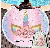 Vanzelu Reizendes Einhorn saugfähiges Mikrofaser Sommer Strandtuch für Erwachsene Mode lustige Druck Yoga Matten Decke mit beweglicher Speicher Beutel 150x150cm