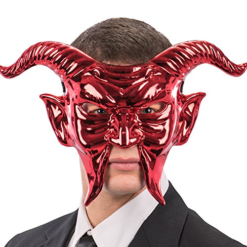 Carnival Toys 797 Maske Roter Teufel, Metallic, one Size (Make-up Rote Teufel)