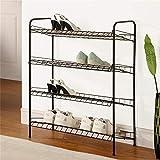 LiSun Schuhregal Multi-Layer-Verstärkung Metall Einfache Montage Wirtschaftliches Wohnzimmer-Lagerregal Schwarz