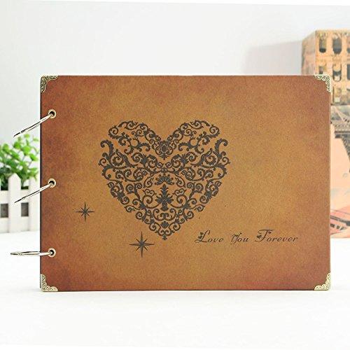 Scrapbook,MAMACHU Fotoalbum Retro Album Hochzeit Gästebuch DIY Vintage Scrapbook Schwarze Seiten...