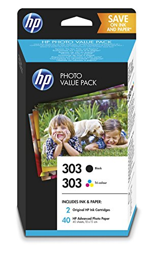 HP 303 Photo Value Pack – 1 cartouche HP 303 noir, 1 Cartouche HP 303 trois couleurs, 40 feuilles papier photo HP Advanced 10x15cm (Z4B62EE)