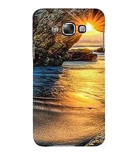PrintVisa Travel Beach Sunset Design 3D Hard Polycarbonate Designer Back Case Cover for Samsung Galaxy E7