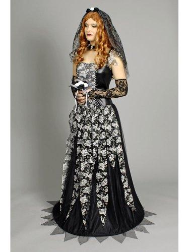 Kostüm Schwarze Witwe Gr. 44 (Schwarze Kostüm Halloween Witwe Kleid)