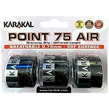 Karakal Point 75Overgrip perforado, pack de 3, color negro